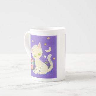 Cream Kitty Cat With Flower Pot, Moon & Stars Tea Cup
