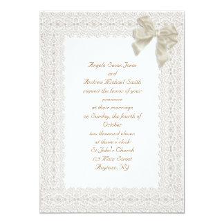 Cream Lace Border Wedding Invitation