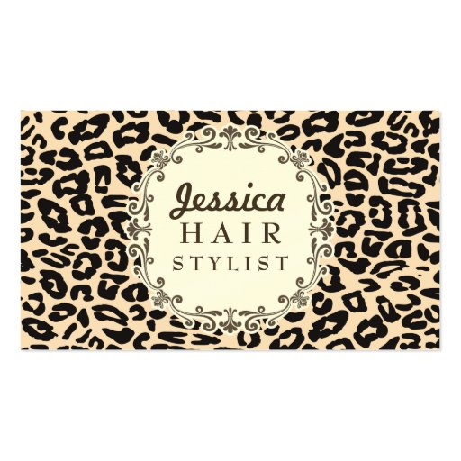 Cream Leopard Print Hair Stylist Appointment Cards Business Card Templates