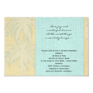 Cream Linen and Blue Palm Trees Baby Shower 9 Cm X 13 Cm Invitation Card