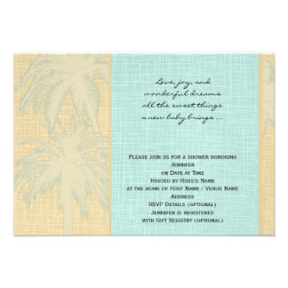 Cream Linen and Blue Palm Trees Baby Shower Personalized Invites