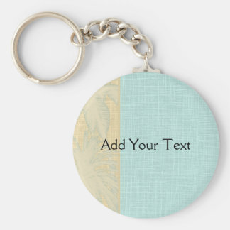 Cream Linen and Blue Palm Trees Basic Round Button Key Ring