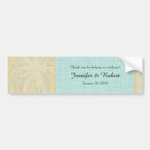 Cream Linen and Blue Palm Trees Bumper Stickers