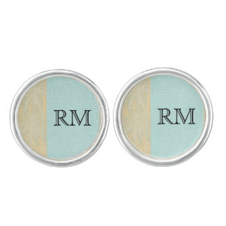 Cream Linen and Blue Palm Trees Wedding Cuff Links