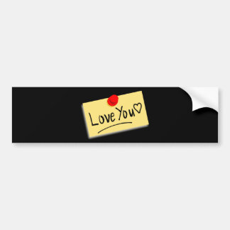 Cream Love Note with red thumb tack Bumper Sticker