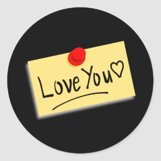 Cream Love Note with red thumb tack Round Sticker