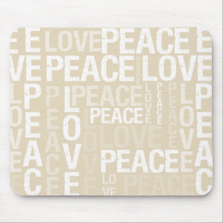 Cream Love Peace Typography Mouse Mat