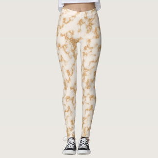 Cream Marble Texture Pattern Leggings