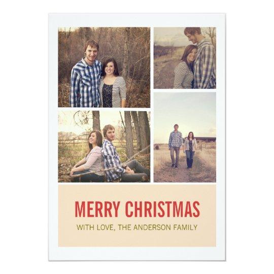 Cream Modern Christmas Photo Flat Cards