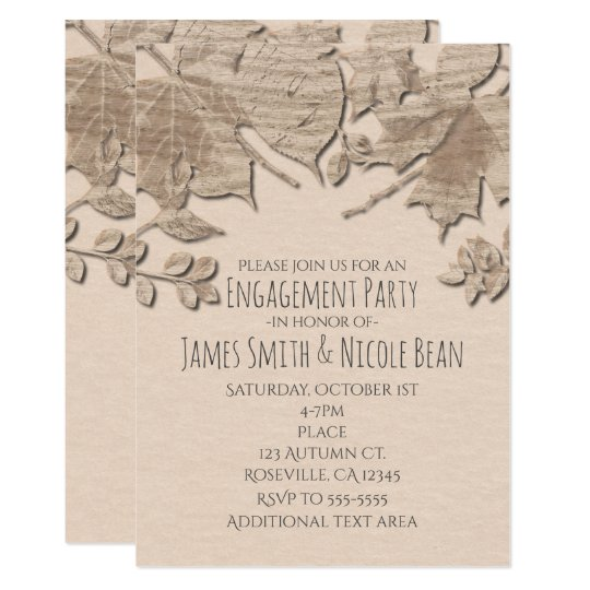 Cream Mud Leaves Rustic Autumn Wedding Invitation