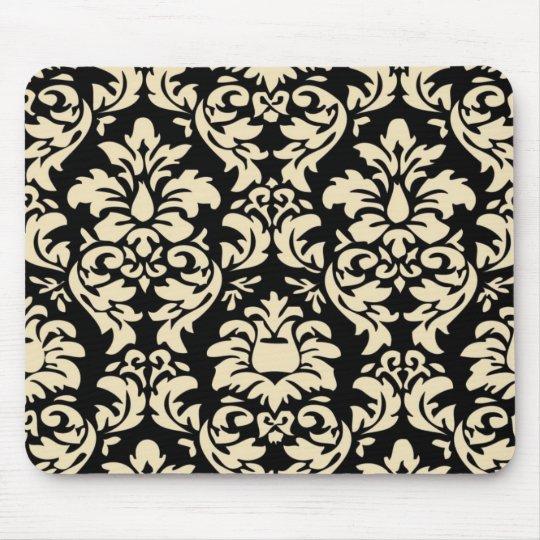 Cream On Black Damask Mousepad