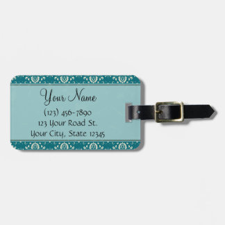 Cream on Teal Damask with Stripes and Monogram Luggage Tag