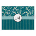 Cream on Teal Floral Wisps & Stripes with Monogram Card