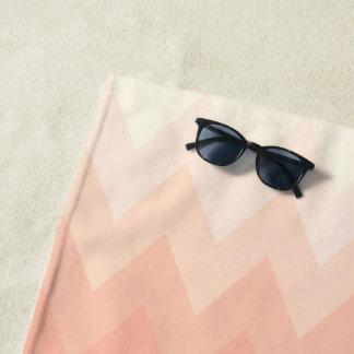 Cream Pastel Peach Blush Chevron Zigzag Pattern Beach Towel