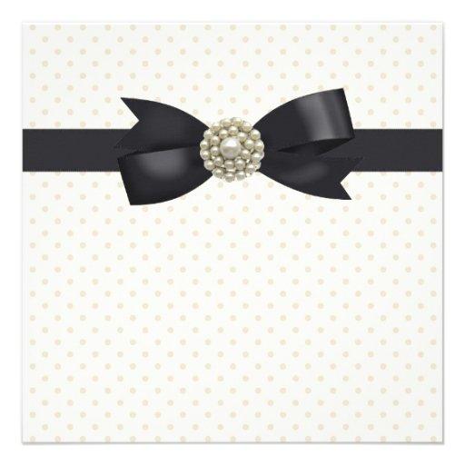 Cream Pearl Bow Black Tie Party and Event Custom Invite