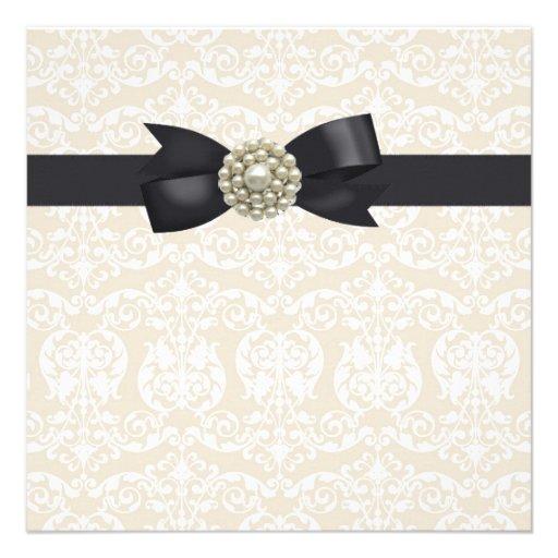 Cream Pearl Bow Black Tie Party Event Template Custom Invite