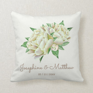 Cream Peony Wedding Cushion