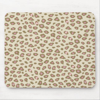 Cream Pink Leopard Print Mouse Pad