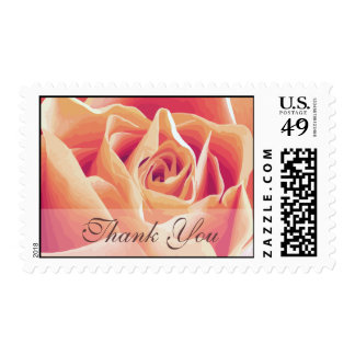 Cream Pink Rose Thank You Wedding Postage
