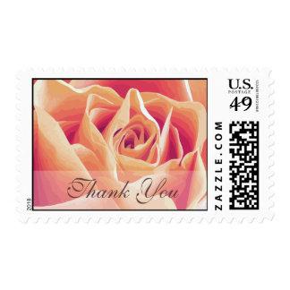 Cream Pink Rose Thank You Wedding Postage