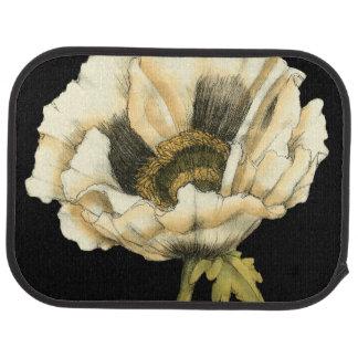 Cream Poppy Flower on Black Background Car Mat
