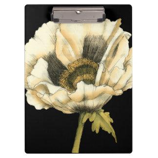 Cream Poppy Flower on Black Background Clipboard