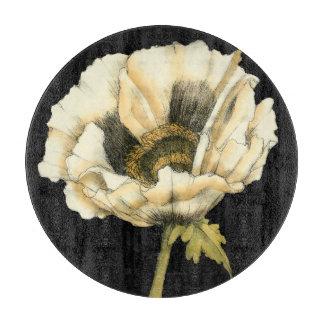 Cream Poppy Flower on Black Background Cutting Board