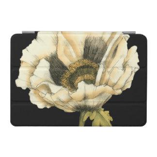 Cream Poppy Flower on Black Background iPad Mini Cover