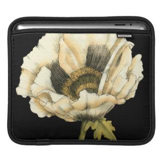 Cream Poppy Flower on Black Background iPad Sleeve