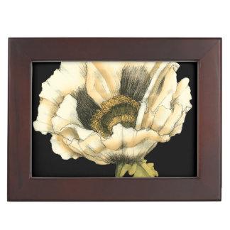 Cream Poppy Flower on Black Background Keepsake Box