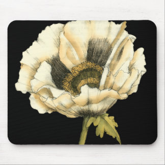 Cream Poppy Flower on Black Background Mouse Pad