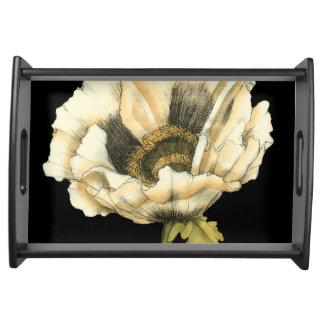 Cream Poppy Flower on Black Background Serving Tray
