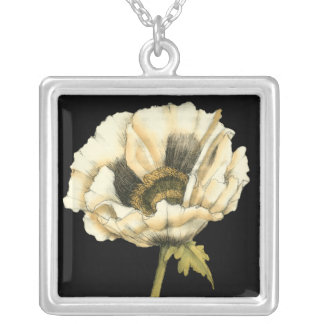 Cream Poppy Flower on Black Background Silver Plated Necklace