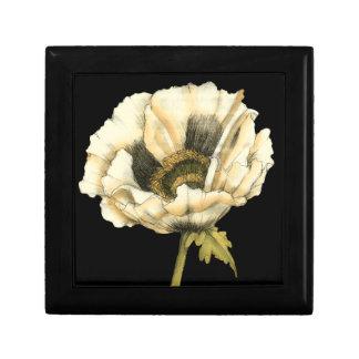 Cream Poppy Flower on Black Background Small Square Gift Box