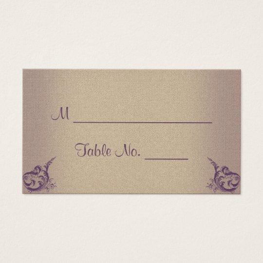 Cream Purple Vintage Posh Wedding Place Cards