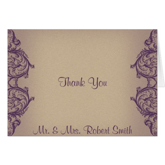 Cream Purple Vintage Scroll Posh Wedding Thank You Card