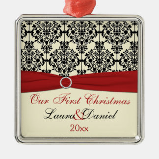 Cream, Red, and Black Damask Wedding Keepsake Christmas Ornament