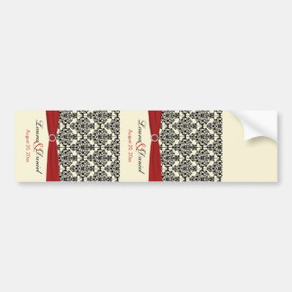 Cream, Red, and Black Damask Wine Label Bumper Sticker