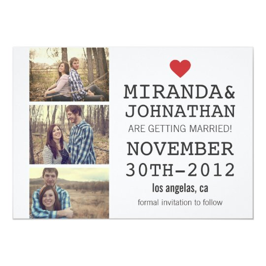 Cream & Red Photo Strip Save The Date