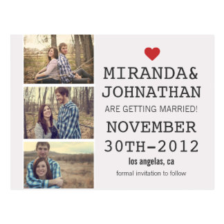 Cream Red Photo Strip Save The Date Post Cards