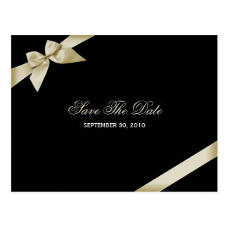 Cream Ribbon Save the Date Announcement Postcards