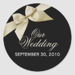 Cream Ribbon Save The Date Wedding Announce Round Stickers