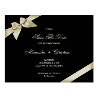 Cream Ribbon Wedding Save the Date 4 Postcard