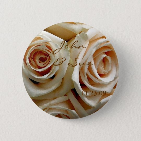 Cream Rose Bouquet - Round Button