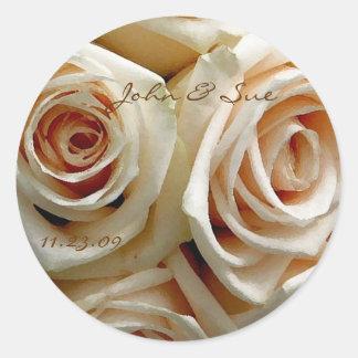 Cream Rose Bouquet - Round Sticker