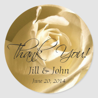 Cream Rose Thank You Wedding Favour Stickers