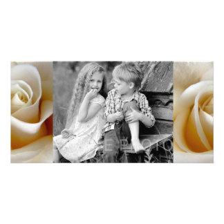 Cream Rose Wedding Photo Custom Photo Card