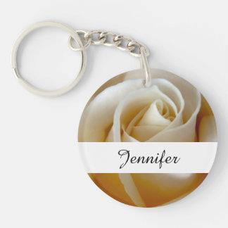 Cream Rose Wedding Photo Double-Sided Round Acrylic Key Ring