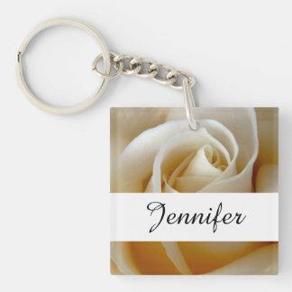 Cream Rose Wedding Photo Double-Sided Square Acrylic Key Ring
