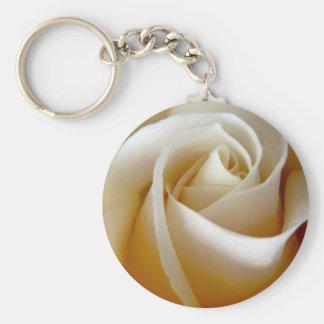 Cream Rose Wedding Photo Basic Round Button Key Ring
